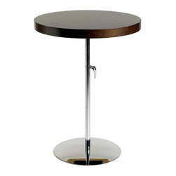 Eurostyle - Raymond Side Table-Wenge/Chrome - The stunning contrast of a thicker top surface versus a thin base is celebrated in this gorgeous side table. Yet you shouldn't be fooled by the slim base — it's sturdy and confidently supports the substantial tabletop.