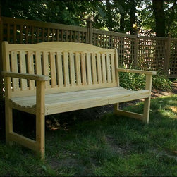 Fifthroom - Treated Pine English Garden Bench - The English Garden Bench takes the traditional style of benches and raises the bar. With the  deep seating, and Straight back this bench is truly the top of its class. The large head board add the final touch to this modern day classic.