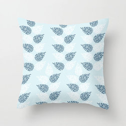 Sheaves Pillow Cover in Blue - Add something new to your living room with this comfortable poplin pillow cover in three fashionable color schemes. Featuring a dotted leaf pattern reminiscent of stalks of wheat, we think it would shine in a bold-hued accent chair.