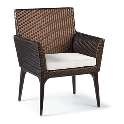 Frontgate - Tribeca Set of Two Dining Arm Chair Cushions, Patio Furniture - Premium, high-performing fabrics. UV-treated to resist fading. 100% solution-dyed and woven for superior color fastness and longevity. High-resiliency, high-density foam core with soft polyester wrap provides years of support without sagging. Sold as a complete cushion set (number of cushions varies depending on furniture piece). Our Tribeca Replacement Cushions instantly update the seating with comfort and all-weather endurance. The cushions' high-performing fabrics resist fading and mildew, and are easy to clean. Multiple layers of fill help the cushions maintain their loft. Part of the Tribeca Collection.. . . . . Includes cushions only; all furniture pieces sold separately. Clean with mild soap and water or a mild solution of water and bleach.