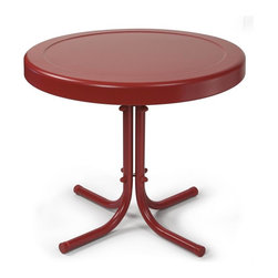 Crosley Furniture - Retro Metal Side Table in Coral Red - Sturdy Steel Construction. Non-Toxic Powder Coated Finish. Easy To Assemble. UV Resistant. Assembly Required. 20 in. L X 20 in. W X 19.5 in. H (9 lbs.)Relax outside for hours on our nostalgically inspired metal outdoor furniture. Set down your glass of iced tea on this sturdy steel side table, designed to withstand the hottest of summer days and other harsh conditions.