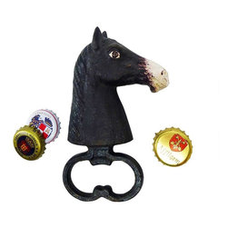 EttansPalace - Horse Head Cast Iron Bottle Opener - Even with a stable full of stallions, this antique replica cast iron horse bottle opener still might be your odds -on favorite to open bottles in vintage equine style! Hand-crafted exclusively for using the time-honored sand cast method, this antique replica cast iron bottle opener is hand-painted in vintage muted hues from nose to mane. Great gift for horse lovers!