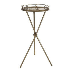 """IMAX - Aniston Round Tray Table - Need a great accent table'ton Round Tray Table's small size and decorative bronze finish make it ideal. Item Dimensions: (31.25""""h x 14""""w x 14"""")"""