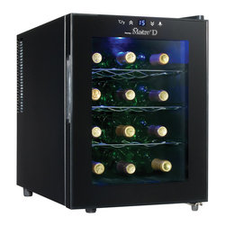 Danby - 12 Bottle Wine Cooler, Semiconductor Technology, Electronic LED Thermostat - Danby's DWC1233BL-SC Maitre'D 12-Bottle Countertop Wine Cooler, in black, safely cradles 12 of your favorite bottles on three contoured chrome shelves. This high efficiency cooler is Earth-friendly and uses no harmful refrigerants. It is silent and vibration-free too, so your wine is safer. A simple, convenient push-button thermostat lets you set a perfect storage temperature between 50-65F degrees (10-18C). Switch on the cool blue LED light and gaze through the clear glass door to admire your stash without disturbing it.12 bottle capacity countertop wine cellar