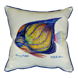 Betsy Drake - Betsy Drake Blue Ring Angelfish Pillow- Indoor/Outdoor - Blue Ring Angelfish Pillow- Large indoor/outdoor pillow. These versatile pillows are equal at enhancing your homes seaside decor and adding coastal charm to an outdoor setting arrangment. They feature printed outdoor, fade resistant fabric for years of wear and enjoyment. Solid back, polyfill. Proudly made in the USA.