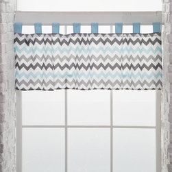 My Baby Sam Aqua Chevron Curtain Valance - The coordinating look of the My Baby Sam Aqua Chevron Curtain Valance make it the perfect finishing touch to your design. The gray and blue chevron pattern features a tab-top design so it's super easy to hang. Part of the Aqua Chevron collection.About My Baby Sam, Inc.My Baby Sam was dreamed up by mom-of-three Tori Swaim in 2001. My Baby Sam provides a fun and diverse selection of baby bedding and kids room décor at an affordable price. With their bedding, nursery and kids décor, letters, and baby gifts, My Baby Sam products will help you create a dreamy nursery or your child's first big-kid room.