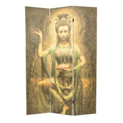 Oriental Furniture - 6 ft. Tall Kwan Yin with Lotus Bamboo Room Divider - This stunning room divider depicts the goddess Kwan Yin holding a Lotus blossom. It is crafted of bamboo matchsticks in a sleek, frameless design.