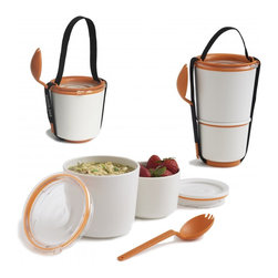 Lunch Pot - This two-cup system comes with a colorful fork and is available in three different colors. Older kids will appreciate the grown-up feel to this set. Perfect for soups, yogurt, granola or salad in separate interlocking pots. Watertight lids prevent leaks, while a carrying strap and stackable shape make for one dynamic-looking Cup O' Noodles.