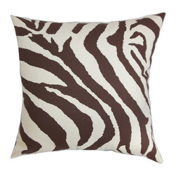"""The Pillow Collection - Dristi Zebra Print Pillow Brown White 18"""" x 18"""" - This pretty accent pillow brings utmost comfort to your living space. Made of 100% soft cotton fabric, this decor pillow can be used as a support for your back or neck. Place this throw pillow on your sofa, bed or seat. Create a contemporary theme and pair up other patterns with this 18"""" pillow. The brown and white zebra print provides a dimension to this plush pillow. Hidden zipper closure for easy cover removal.  Knife edge finish on all four sides.  Reversible pillow with the same fabric on the back side.  Spot cleaning suggested."""