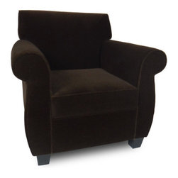 """Passport Home - Arnie Chair - Full of character, the Arnie chair redefines the classic roll-arm silhouette. Its allure lies in the soft shape of the design originating at the roll of the arm and curving down to the leg. Arnie's signature style complements all types of interiors, and its comfortable seating makes everyone feel at home. The Arnie chair is upholstered in a high quality fabric with the look of mohair. Features: -Solid wood legs.-Seat cushions of high performance.-Attached arm and back pillows.-Seams are sewn with bonded nylon.-Monofilament threads for strength and flexibility.-Soft and resilient 1.8 high density polyurethane foam with foam wrap.-Frame meets the strict standards of the California Air Resources Board.-Major frame joints are corner blocked, glued, and stapled for added stability.-Outside panels are padded to add softness and support to the fabric or leather, preventing it from sagging and becoming loose.-Tempered steel sinuous springs for both back and seat suspension ensures that your back pillows and seat cushions are properly supported and that extraordinary seat comfort is provided.-Made in the USA.-22.5"""" H x 33"""" W x 31"""" D, 60 lbs.-Collection: Arnie.-Upholstered: Yes .-Distressed: No.-Country of Manufacture: United States.Dimensions: -Overall Product Weight: 60 lbs."""