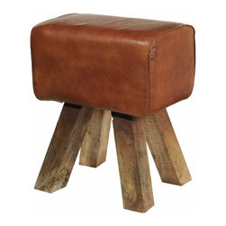 Madam Stoltz Leather Stool - It's official: I need this stool. Really, it can't get any cuter than this. It has the perfect rustic vibe going on.