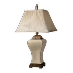 Uttermost - Uttermost 27728  Ivan Ivory Table Lamp - This porcelain lamp is finished in heavily crackled, aged ivory glaze with heavily antiqued champagne details. the pleated, square bell shade is silken ivory linen textile.