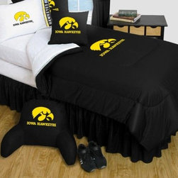 Sports Coverage - Iowa Hawkeyes Bedding - NCAA Comforter and Sheet Set Combo - Twin - This is a great University of Iowa Hawkeyes NCAA Bedding Comforter and Sheet set combination!. Buy the Microfiber Sheet set with the Comforter and save off our already discounted prices. Comforter is made from 100% Polyester Jersey Mesh - just like what the players wear. The fill is 100% Polyester batting for warmth and comfort. Authentic team colors and logo screen printed in the center. Soft but durable. Machine washable in cold water. Tumble dry in low heat. Microfiber Sheet Set have an ultra-fine peach weave that is softer and more comfortable than cotton! This Micro Fiber Sheet Set includes one flat sheet, one fitted sheet and a pillow case. Its brushed silk-like embrace provides good insulation and warmth, yet is breathable. It is wrinkle-resistant, stain-resistant, washes beautifully, and dries quickly. The pillowcase only has a white-on-white print and the officially licensed team name and logo printed in team colors. Made from 92 gsm microfiber for extra stability and soothing texture. Sheet Sets are plain white in color with no team logo.  Includes:  -  Flat Sheet - Twin 66 x 96, Full 81 x 96, Queen 90 x 102.,    - Fitted Sheet - Twin 39 x 75, Full 54 x 75, Queen 60 X 80,    -  Pillow case Standard - 21 x 30,    - Comforter - Twin 66 x 86, Full/Queen 86 x 86,