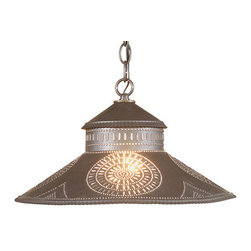Irvin's Tinware - Shopkeeper Shade Light with Chisel Design, Blackened Tin - Designed to reflect the welcome of a country store, our Shopkeeper Shade Light is perfect over a small table or used alone or in pairs over a bar or kitchen island.