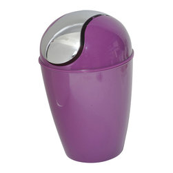 Pp Mini Waste Basket Dark Purple - This mini waste basket for bathrooms is made of shiny polypropylene and features a convenient chrome plated finish swing top lid. This versatile flaring shape mini waste basket is the perfect size for small spaces and fits easily on sinks or bathroom countertops. Diameter of 5.12-Inch and height of 7.95-Inch. Clean with soapy water. Color shiny dark purple. Keep your bathroom countertop clean in a trendy style with this lovely mini waste basket! Complete your decoration with other products of the same collection. Imported.