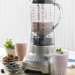 Breville Hemisphere Blender - Make your favorite smoothie or cocktail recipes in this Breville Hemisphere Blender. The jug can hold up to 48 ounces/1.5 liters and has an easy-pour spout so you can easily pour contents into a waiting glass. The bowl is contoured so food does not get trapped in nooks and crannies, thus making it easier to clean. The lid fits snugly on the jug and features a ring pull so it is easy to remove. The dishwasher safe jug fits onto the heavy-duty, die cast metal base easily and without needing to twist or turn.