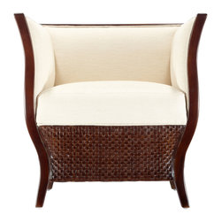 """Selamat - Lucca Hazelnut Tub Chair - Sinuous lines elegantly curve and combine with the rich texture of woven leather paneling to form the alluring Lucca tub chair. Finished with upholstered inside arms and back and hand stained in a rich hazelnut finish for a captivating seat. 28""""W x 26""""D x 28""""H. Leather and sustainably grown rattan. Upholstered seat in rice."""