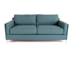 Liberty Manufacturing Company - Adams Sofa, Emerald - We dreamt of designing a piece that combined the strict lines of the modern sofa, with the comfort of a couch befitting our living room.