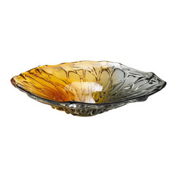 Cyan Design - Cyan Design Duo Art Glass Plate X-04240 - Overlapping strands of glass are paired with an organic, fluid shape on this Cyan Design art glass plate. From the Duo Collection, this art glass plate features a stylish blend of silver gray and warm gold tones, which add contrast and draw the eye in.