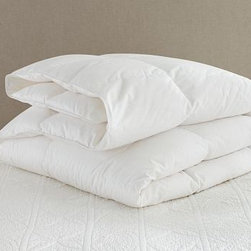 Luxury Goose-Down Comforter, King/Cal. King - Keep warm on chilly autumn nights wrapped in supremely soft goose down. Our blanket provides luxurious comfort and is designed to layer easily with solids and patterns alike. Made of pure cotton. 400-thread count. 700 Fill Power.  Filled with white goose down. Down is Freshness Assured(TM) through an exclusive cleaning process that guarantees hypoallergenic comfort. Machine wash. Made in the America of imported materials.