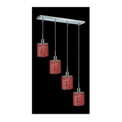 Elegant Lighting - Mini Bordeaux Crystal Pendant w 4 Lights in Chrome (Royal Cut) - Choose Crystal: Royal Cut. 3 ft. Chain/Wire Included. Bulbs not included. Crystal Color: Bordeaux (Red). Chrome finish. Number of Bulbs: 4. Bulb Type: GU10. Bulb Wattage: 55. Max Wattage: 220. Voltage: 110V-125V. Assembly required. Meets UL & ULC Standards: Yes. 26 in. D x 8 to 48 in. H (12lbs.)Description of Crystal trim:Royal Cut, a combination of high quality lead free machine cut and machine polished crystals & full-lead machined-cut crystals..SPECTRA Swarovski, this breed of crystal offers maximum optical quality and radiance. Machined cut and polished, a Swarovski technician¢s strict production demands are applied to this lead free, high quality crystal.Strass Swarovski is an exercise in technical perfection, Swarovski ELEMENTS crystal meets all standards of perfection. It is original, flawless and brilliant, possessing lead oxide in excess of 39%. Made in Austria, each facet is perfectly cut and polished by machine to maintain optical purity and consistency. An invisible coating is applied at the end of the process to make the crystal easier to clean. While available in clear it can be specially ordered in a variety of colors.Not all trims are available on all models.