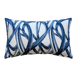 Pillow Decor - Pillow Decor - Flair 12x20 Blue Throw Pillow - Fun and lively, the Flair 12x20 Blue Throw Pillow would make a great addition to a family room or any part of the house where you like to entertainment. These pillows will make you want to dance. The blue swirls are set against an off-white background for a dramatic, contemporary look.