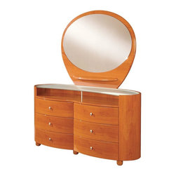 Global Furniture - 2 Pc Modern Cherry Finish Emily Dresser w Ova - A unique design and superior storage make this two piece set ideal for any contemporary bedroom. It features an open shelf, six spacious drawers, and matching mirror with additional storage shelf. Provides room to store clothes, toiletries, and other items. Glass top. Open shelf. Six drawers. Contemporary design. Constructed with MDF. Dressing Table: 63 in. W x 22 in. D x 32 in. H (216 lbs.). Mirror: 47 in. W x 39 in. H (57 lbs.)