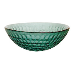 Renovators Supply - Vessel Sinks Emerald Green Glass Frosted Round Vessel Sink - Glass Vessel Sinks: Textured Frosted Tempered glass sinks are five times stronger than glass, 1/2 inch thick, withstand up to 350 F degrees,  can resist moderate to high degrees of impact & are stain��_��__��_��__��_��__proof. Ready to install this package includes FREE 100% solid brass chrome-plated pop-up drain, FREE machined 100% solid brass chrome-plated mounting ring & silicone gasket. Measures 16 1/2 in. dia. x 6 in. deep x 1/2 in. thick.