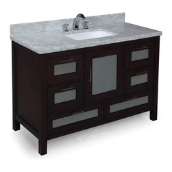 Kitchen Bath Collection - Manhattan 48-in Bath Vanity (Carrara/Chocolate) - This bathroom vanity set by Kitchen Bath Collection includes a chocolate cabinet with tempered glass windows, soft close drawers and self-closing door hinges, double-thick Italian Carrara marble countertop (an incredible 1.5 inches at the edge!), single undermount ceramic sink, pop-up drain, and P-trap. Order now and we will include the pictured three-hole faucet and a matching backsplash as a free gift! All vanities come fully assembled by the manufacturer, with countertop & sink pre-installed.