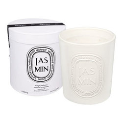 diptyque 'Jasmin' Large Scented Candle - Candlemaker diptyque teamed up with Virebent, a well-known porcelain manufacturer established in 1924, to make its indoor and outdoor scented candle. They chose earthenware for its rustic touch and handcrafted look, and because it embodies and brings to life the brand's emblematic oval. This diptyque candle is made exclusively by hand, and takes no fewer than nine distinct operations.The four-wick Jasmin scented candle recalls exhilarating, sensual, delicate scents, evocative of Mediterranean gardens. Brand: DIPTYQUE. Style Name: diptyque 'Jasmin' Large Scented Candle. Style Number: 568481.