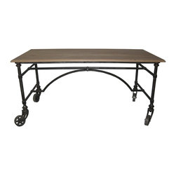 NOIR - Noir Furniture Desk With Wheels In Metal - NOIR Furniture - Desk with Wheels in Metal - DES119