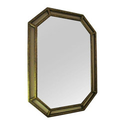 Pre-owned Large Gilt Framed Octagonal Mirror - A large modified octagonal mirror in a gilded frame. This glamorous mirror will be a jewel in any space. The large scale makes it perfect for an entry, hall, bedroom, or powder room! The spatter gilt finish over black gives the piece great texture.