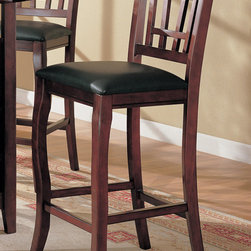 "Coaster - Newhouse Collection 29"" Counter Height Stool in Dark Cherry, Set of 2 - Create a relaxing dining experience with this Dark Cherry Finish Counter Height Stool. Features solid hardwoods in a dark cherry finish. Stools have black vinyl seating for extra comfort.; Transitional Style; Newhouse Collection; Finish: Dark Cherry; Fabric Color: Black; No assembly required.; Dimensions: 18.5""L x 20""W x 47""H"