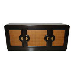 Paul Laszlo Sideboard/Cabinet - The beautiful woven reed doors on the front of this console are the perfect example of chic styling with great textures in home decor.