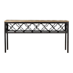Hooker Furniture - Melange Cassara Console - Pine veneers and an artistic metal pattern make an eclectic pair in the Cassara Console.
