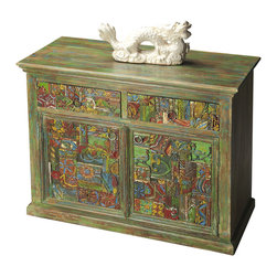 Butler Specialty Furniture - Artifacts Console Cabinet 2065290 - Painstakingly hand-painted doors and drawer fronts in muted,  antiqued color tones of greens and browns frame the vibrant colors of this splendid console.  Jewel-toned colors are hand-applied to individually carved panels making each piece a unique experience.  Crafted from mango wood solids and recycled wood with primitive brass-finished hardware.  Only listed product included.