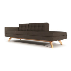 "TrueModern - Luna 94"" One Arm Sofa with Chaise in Calvin Chocolate Cotton Blend Fabric - A truly comfortable Luna 94"" One Arm Sofa with Chaise in Calvin Chocolate Cotton Blend Fabric by TrueModern made to fit any room. Upholstered with comfortable and durable 100% polyester fabric. Button tufting on the back cushions gives the sofa a retro feel. *Seat Height: 18.5"""