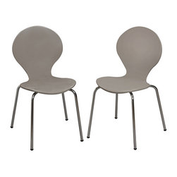 Gift Mark - Gray Modern Children's Chair - Set of Two - Designed with a curvaceous silhouette for a fun mod look, this chair set lends little ones a stylish seat during study hours, craft time and more.   Includes two chairs Weight capacity: 60 lbs. 13'' W x 26.25'' H x 14'' D Seat: 14'' H Chrome / medium-density fiberboard / veneer Assembly required Imported