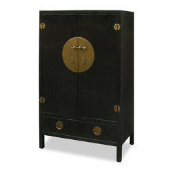 "China Furniture and Arts - Elmwood Ming Style TV Armoire - Built in the Ming Dynasty (1368-1644) furniture style, the inside of this cabinet is altered specifically for the storage of contemporary mixed media. Large enough to contain most family  television sets with the dimensions of 37.5""W x 18.5""D x 36""H, the armoire has an outlet in the back for wires to go through. Two removable shelves and a stand (6""H) inside for your storage convenience. One large drawer below provides additional storage space. The polished cast-brass pull and decorative hinges are symmetrically fitted reflecting the Chinese ideal of unity. Completely hand made of Elmwood for long lasting durability with hand applied black ebony finish. (Each shelf space is 11.5""H.) Display items not included."
