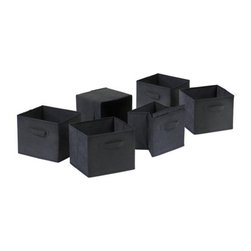 Winsome Wood - Capri Foldable Fabric Baskets, Black, Set of 6 - Our Capri Foldable Black Fabric Baskets are are great for decorative storage and can be used as a magazine holder, file holder, art project holder. When not in use, this baskets could be folded for easy storage.