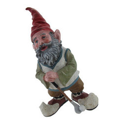 Greg the Golfing Gnome 14 In. - This gnome is a great garden accent for the avid golfer, he is wearing a sweater vest, argyle socks, and golf shoes. Made of cold cast resin, this piece measures 14 inches tall, 8 inches wide, 6 1/2 inches deep and is hand-painted to bring out the wonderful details. He makes a wonderful housewarming gift, looks great in flower beds or on patios, and is a great accent inside the home. Randomly `gnome` someone, a neighbor, a co-worker, your boss- it`s sure to brighten their day, everyone likes a little surprise now and then, and perhaps they`ll pay it forward!