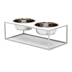 Doca Pet - 3-Cup Double SquareMeal, Small - Man's best friend appreciates modern minimalism, too. This contemporary stainless steel frame looks classic and helps your pup eat comfortably. Made in Chicago, it includes two stainless steel bowls.