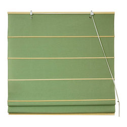 Oriental Furniture - Cotton Roman Shades - Light Green 60 Inch, Width - 60 Inches - - These Light Green colored Roman Shades combine the beauty of fabric with the ease and practicality of traditional blinds.  They are made of 100% cotton and are available in seven other stylish colors.   Easy to hang, easy to open and close.  Also available in Cream, Yellow Cream, Light Brown, Dark Green, Black, Red or Pink.  Available in five practical sizes, 24W, 36W, 48W, 60W and 72W.  All sizes measure 72 Tall. Oriental Furniture - WT-YJ1-7F-60W