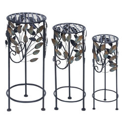 Benzara - Round Metal Plant Stand Suiting Fit any Garden Decor - Stylize your garden and backyards with his intriguingly designed metal planters. Round in shape, these planters look great and hold even heavy plants for you with style and elegance. This set of metal planters adds to the elegance of your lush gardens or even living space with its sleek design and durability. Crafted of excellent quality metal, theses planter offer unmatched strength and durability with resistant abrasion quality. A circular covering with a dense leaf design on it, adds to the charm of this set of metal planters. It fits any garden decor and complements the overall look of the house. With one set placed in your garden, you would want another set to complete your garden's look. You can easily move these planters anywhere you desire. With their presence in your garden, guests won't stop admiring your garden's look and ambience.