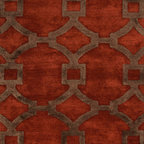 Jaipur Rugs - Hand-Tufted Geometric Pattern Wool/ Art Silk Red/Brown Area Rug ( 2.6x10 ) - Over scaled sharp geometrics characterize this striking contemporary range of  hand tufted rugs. The high/low construction in wool and art silk creates texture and surface interest and gives a look of matt and shine.