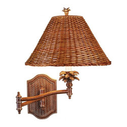 Pacific Coast Lighting - Pacific Coast Lighting Tropical Palm Retreat Swing-Arm Wall Lamp - - Solar Bronze Finish