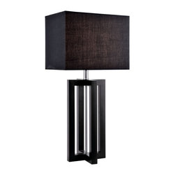 Lite Source - Lite Source Daire Contemporary Table Lamp XSL-02912 - Two rectangular frames have been adjoined to create an 'x' shape when viewed from above this Lite Source contemporary table lamp. From the Daire Collection, it features a black fabric shade in a coordinating rectangular shape. To create a seamless look, a Black Wood finish has been used.