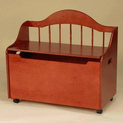 Gift Mark - Deacon Bench/Toy Chest with Casters - Gracefully curved with an arched back, Giftmark's Deacon Bench & Toy Chest adds an attractive and multi-Functional element to any child's bedroom or play area. This wonderful product can be used either as a park-like bench for seating, or as a spacious organizational unit for storing toys, books, puzzles, or games. Features: -Casters provide quick & easy movement.-Sturdy and durable.-Solid wood.-Stuffed animals not included.-Distressed: No.Dimensions: -Dimensions: 25.38'' H x 33'' W x 17'' D.
