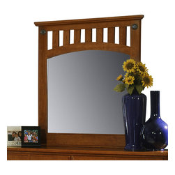 Standard Furniture - Standard Furniture City Park Arched Panel Mirror in Cherry - City Park is a preservation of distinct craftsman looks. Extra deep storage space, including a sweater drawer in chest and dresser. Dresser drawers are double bluff cut to enhance design. The case pieces incorporate two different hardware designs to add visual interest. Multiple slats in bed and arched top rail above mirror showcase the craftsmanship of this appealing collection. Crowns on bed and mirror are enhanced with an ornamental metal rosette. The metal pulls are enhanced by an antique pewter color finish and brass color highlights. Cherry color and star pattern finish present a charming and captivating presence. Quality wood products bonded together creates durable construction throughout.