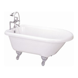 Elizabethan Classics - 60 in. Roll Top Ball & Claw Feet Acrylic Bath - Finish: Oil Rubbed BronzeManufacturer SKU: USAR60WH. Pictured in White & Chrome. Faucet not included. Requires straight supplies and leg tub drain. Acrylic. 60 in. Roll Top Tub - With tub rim holes. Ball and claw feet. Slip resistant surface. Use with rim mount faucet models. Capacity: 35 1/2 gallons. 7 in. centers faucet holes in tub rim centered above drain overflow. 60 in. L x 31 1/2 in. W x 24 1/2 in. H